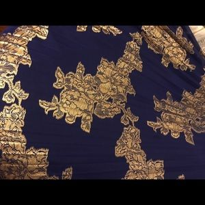 Formal long blue & gold foil dress